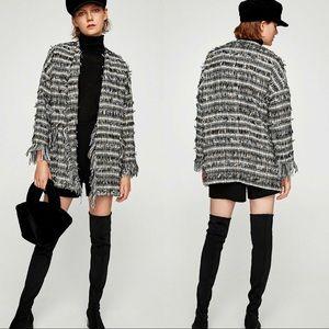 NEW Zara Navy Boucle Tweed Fringed Frayed Coat S